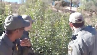 Hot Latin booty caught in the border by horny officer image