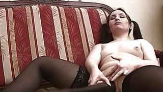 Pigtailed Horny Teen Masturabating Pussy Insertion image