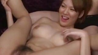 Horny Japanese juggy is hardcore ass fucked in threesome image