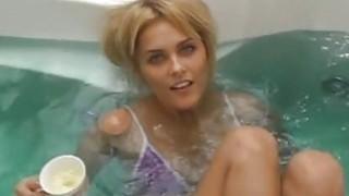 Babe exposes wazoo and perky moist boobs image