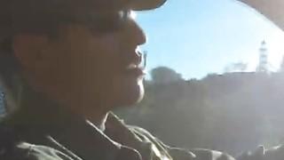 Border officer fucks beautiful Latina teen outdoors image
