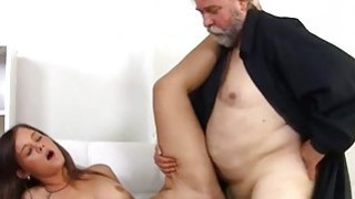 Image: Looking young babe takes in mouth old dick