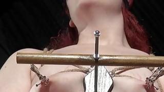 Extreme Femdom with bizarre breasts bondage image