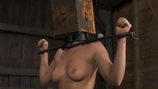 Tied up serf receives lusty pleasuring her slit image