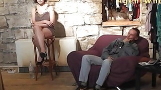 BUSTY Agent Whore shows boobs massage to older man image