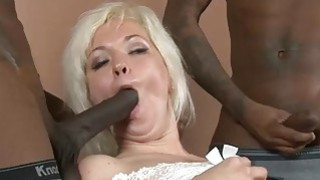 Blonde slut double banged by many massive black dicks image