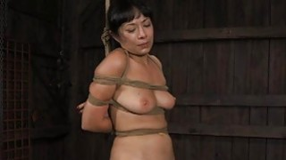Image: Gagged and bound up hottie is whipped ferociously