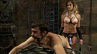 Strap-on female ready to raid her boyfriend's asshole image