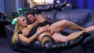 Kayla Green rubs her clit while taking cock in the ass image