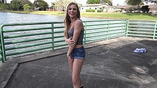 Shy girl poses erotically to take pictures image