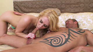 Image: Blonde cutie Cadence Lux gives nice blowjob to the older dude