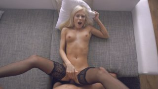 Blonde bombshell Candee Licious shows off her sex skills with_a booty bouncing stiffie ride and a... image