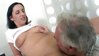 Young chick enjoys old jock in mouth and pussy image