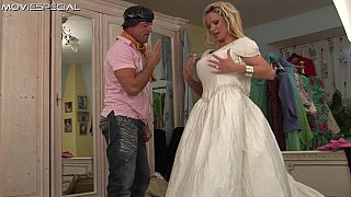 Tall mature bride gets fucked in her white dress image