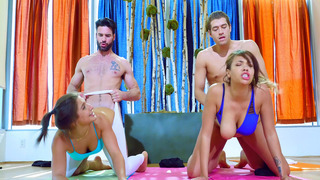 Abella Danger and Cassidy Banks getting fucked by two yoga instructors image
