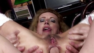 Hairy brunette mature gets anal creampied image