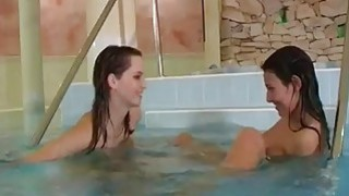 Lesbians go at it Young lezzies getting bare in swimming pool image