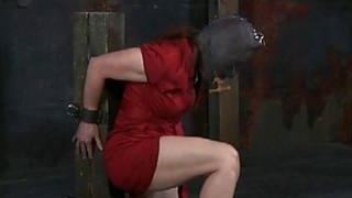 Angel in latex suit gets fur pie and anal prodding image