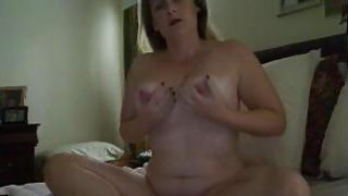 Chubby mom Sabina with hitachi and huge dildo image