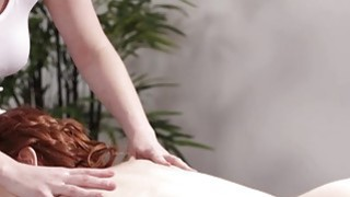 Image: Big tits Veronica walks inside the massage room for a massage