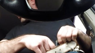 Image: This hot Janice gives a overwhelming blowjob to Charles while driving a car
