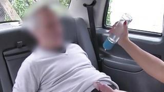 Busty blonde Milf bangs big cock in cab in public image