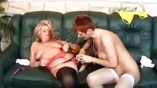 Two grannies fuck each other with double dildo image