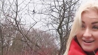 Image: Hot blonde teen blows in forest