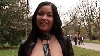 Naughty girl in sexy panty fucked in public xxx image