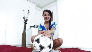 Teen babe football fan rides and fuck a big cock image