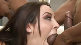 Kinky babe double fucked by black dudes on the couch image