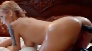 tattoed blonde with perfect body toying image