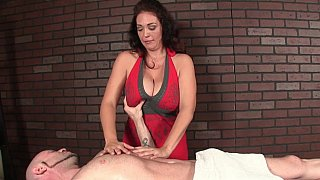 Milf with huge natural tits massaging image