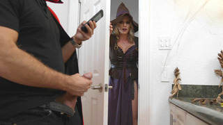 Cory Chase giving him a wonderful blowjob in a Halloween_night image