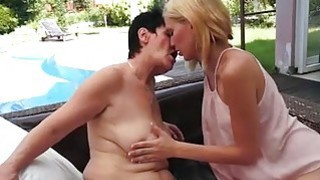 Blonde Candy Sweet puts her hand in grannys bikini bottom image