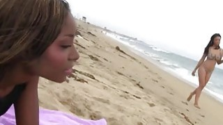 Fine black babes Jade Aspen and Shae Spreadz fuck after  hanging out on beach image