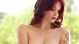 Sexy redhead enjoying fucking brunette ass with butt plug dildo image