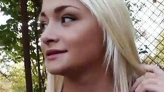Pretty amateur blonde eurobabe gets fucked in the woods image