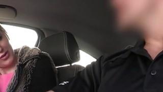 Image: Blonde amateur sucks dick to fake cop