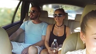 Female fake taxi driver bangs on camera image