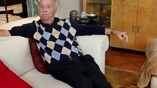 Lucky Old Man Gets Dick Sucked By Two Naughty Teenage Sluts image