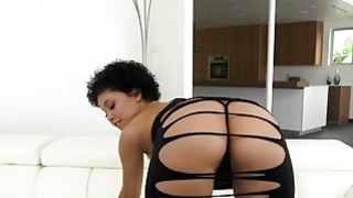 Curly haired seductress Mia Austin removes sexy lace outfit and gets fucked image