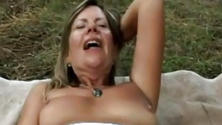 My sex starved blonde stepmom blowing my cock in the woods image