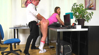 Image: Stella Cox bends over the desk and gets_her moist snatch slammed