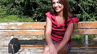 Pretty eurobabe flashes tits in the park for some money image