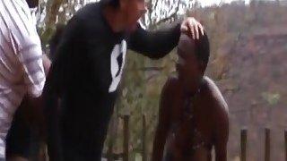 African slut get her nipples tormented hard outdoor image
