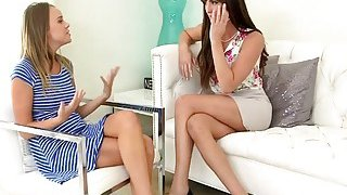 Young Alexis Adams and hot MILF Bianca Breeze share a hard cock image