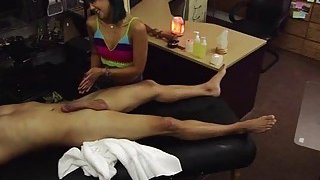 Tiny asian wants to sell her massage kit and ends up hammered by Shawn image