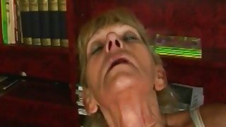 Image: A nasty blonde granny masturbates then gets young hard penis in her vagina