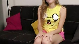 Cute teen strips pink lingerie and proves her virginity image